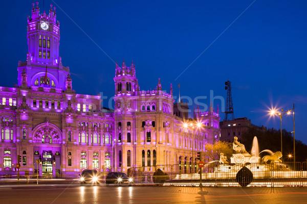 Madri fonte noite cidade Espanha Foto stock © rognar
