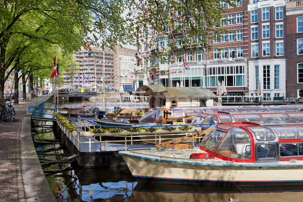 Canal Cruise Boats in Amsterdam Stock photo © rognar