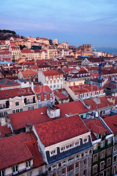Város Lisszabon szürkület Portugália tetők ház Stock fotó © rognar