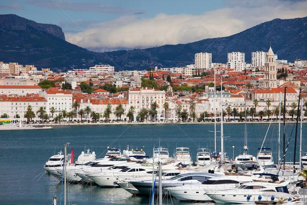 Panorama cityscape mar Croácia lancha porto Foto stock © rognar