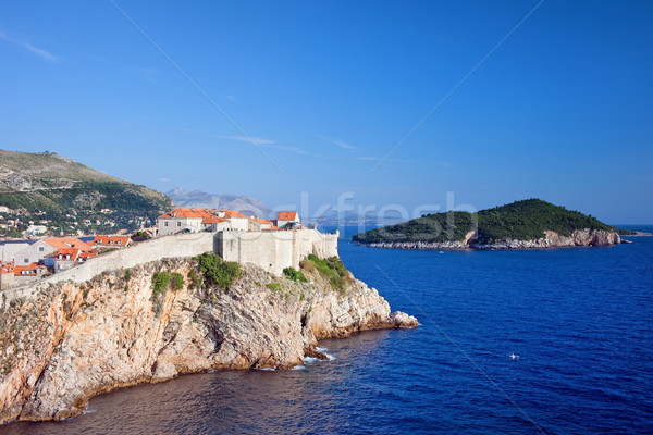 Dubrovnik and Lokrum Island on Adriatic Sea Stock photo © rognar