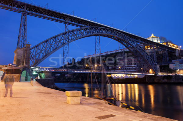 Dom Luis I Bridge by Night in Porto Stock photo © rognar
