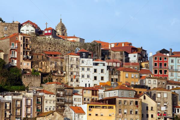 Stad skyline Portugal traditioneel heuvel huizen Stockfoto © rognar
