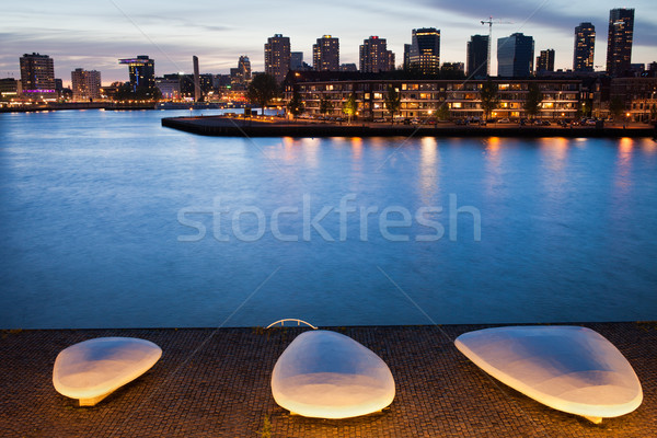 City of Rotterdam Skyline at Twilight in Netherlands Stock photo © rognar