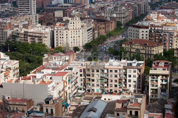 Barcelona városkép épületek sziluett építészet házak Stock fotó © rognar