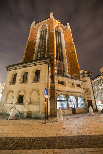 Rear View of St Mary Basilica in Krakow at Night Stock photo © rognar