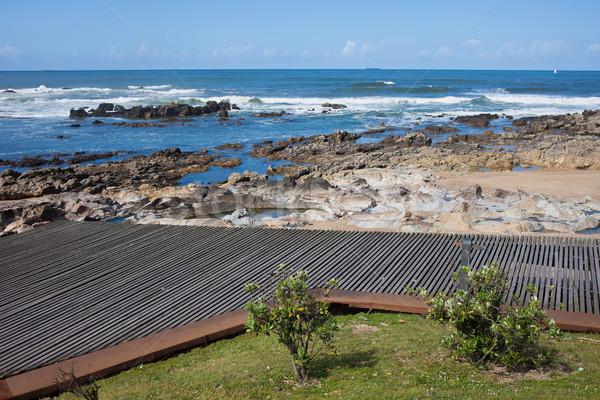 Promenade wijk houten wal oceaan Stockfoto © rognar
