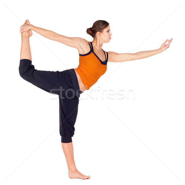 Woman Practicing Dancer Pose Yoga Exercise Stock photo © rognar