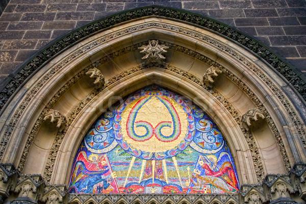 Bazilika díszítő ív fő- ajtó Prága Stock fotó © rognar