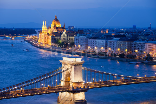 Budapest Cityscape at Night Stock photo © rognar