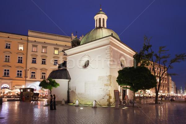 Templom szent Krakkó éjszaka Lengyelország fő- Stock fotó © rognar