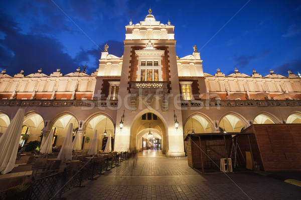 Ruha előcsarnok Krakkó éjszaka város Lengyelország Stock fotó © rognar