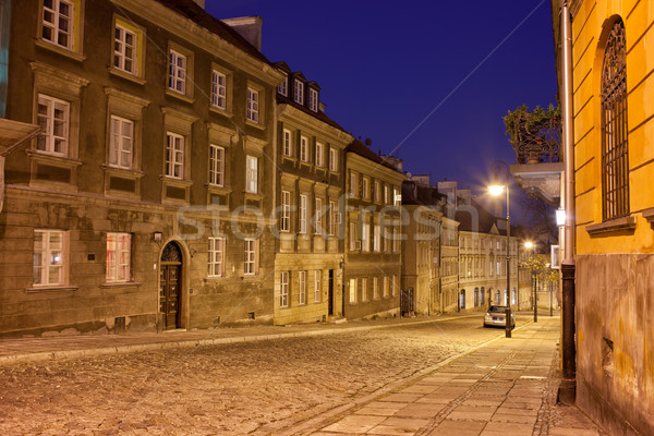 New Town Street and Houses at Night in Warsaw Stock photo © rognar