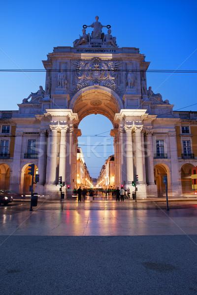 Rua Augusta Arch at Dusk in Lisbon Stock photo © rognar