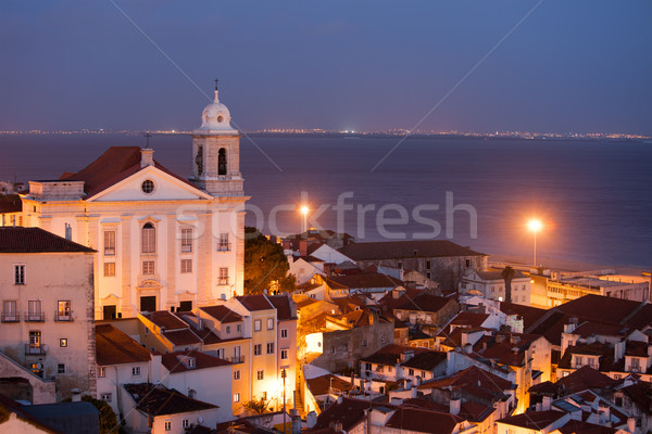 City of Lisbon in Portugal at Night Stock photo © rognar