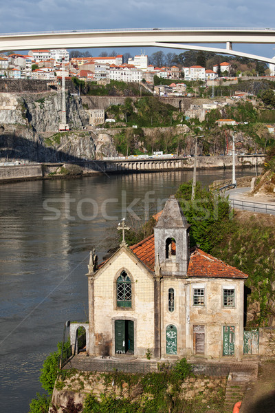 Old Riverside Church in Portugal Stock photo © rognar