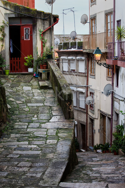 Medieval Alley in Ribeira Old Town of Porto Stock photo © rognar