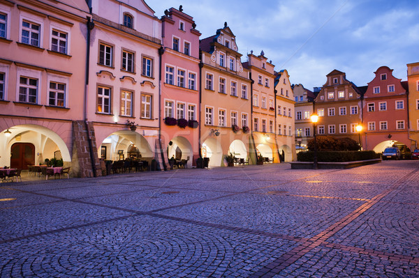 Jelenia Gora Old Town Square at Dusk in Poland Stock photo © rognar