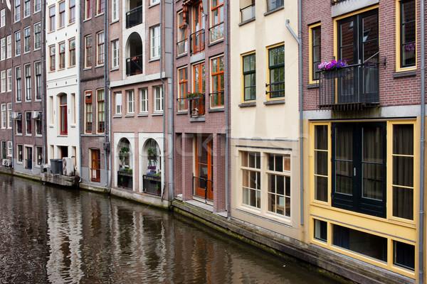 Canal casas Amsterdam Holanda norte Foto stock © rognar