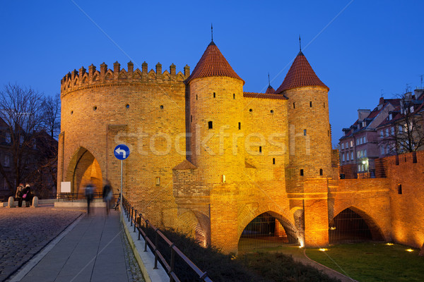 Nuit vieille ville Varsovie fortification Pologne Photo stock © rognar