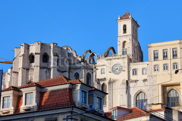 Igreja do Carmo Ruins in Lisbon Stock photo © rognar