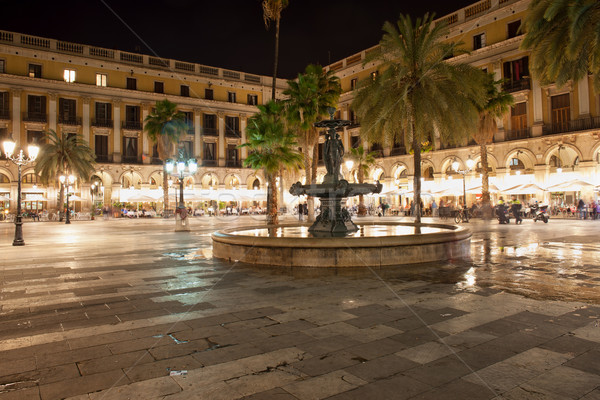 Stock photo: Placa Reial at Night in Barcelona