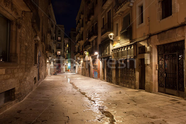 Barri Gotic at Night in Barcelona Stock photo © rognar