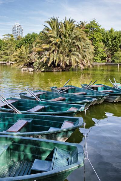 Hajók Barcelona csetepaté bérlés tó park Stock fotó © rognar