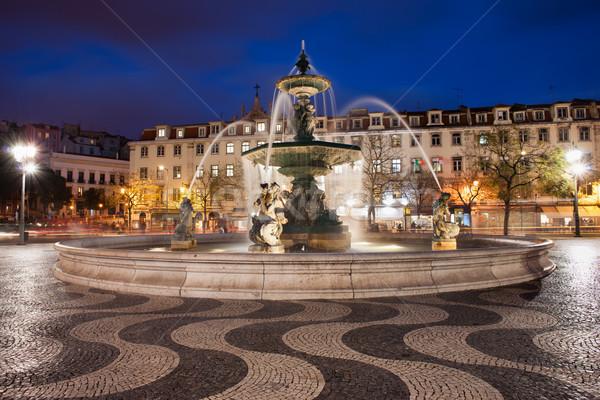 Piazza notte Lisbona fontana Portogallo arte Foto d'archivio © rognar