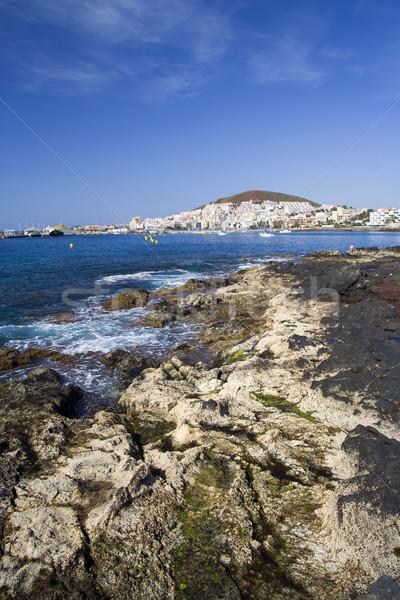 Tenerife kustlijn oceaan resort stad Stockfoto © rognar