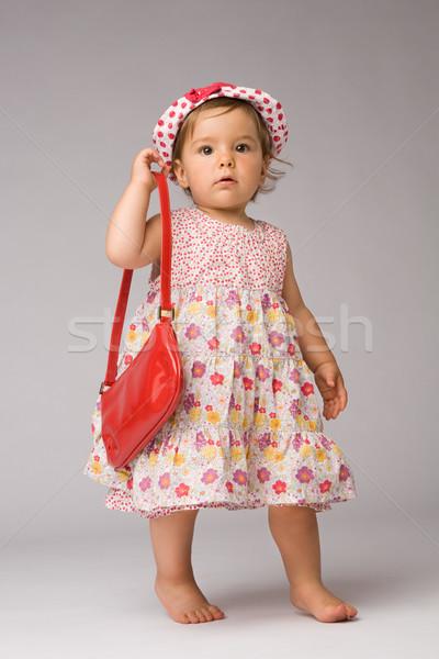 Stock fotó: Divat · baba · pózol · egyéves · lány · modell