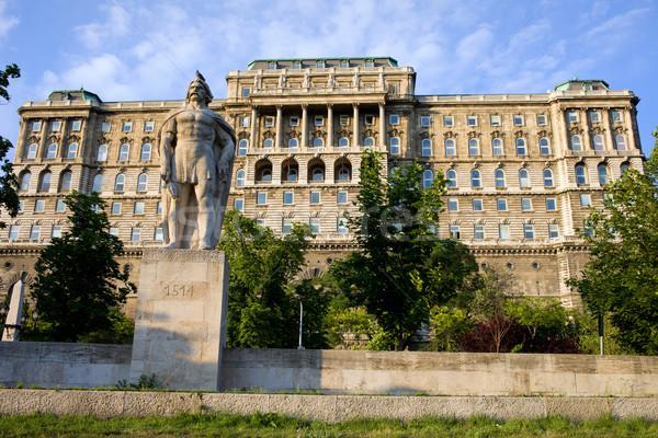 Buda Castle & The Dozsa Statue Stock photo © rognar