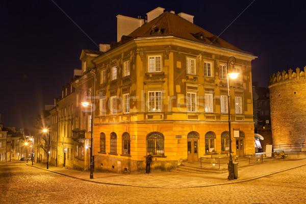 Nieuwe stad Warschau nacht huizen hoek Stockfoto © rognar