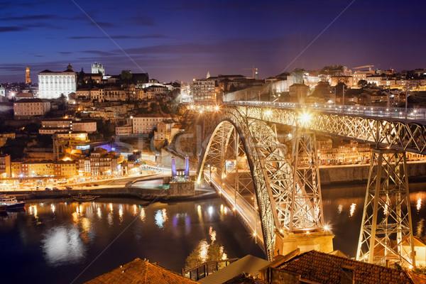 Ville nuit Portugal pont rivière Photo stock © rognar