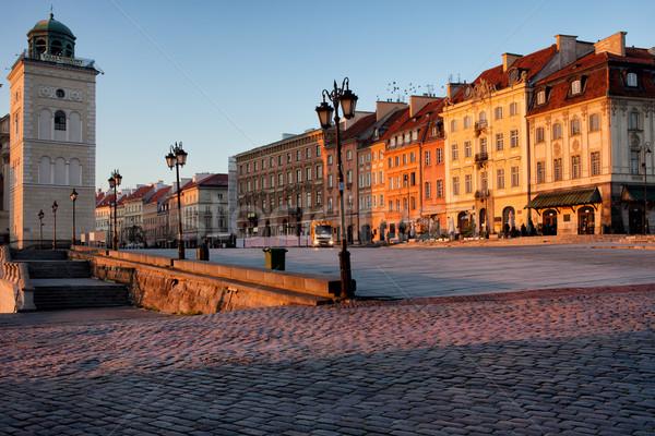 Warschau zonsopgang stad Polen huis reizen Stockfoto © rognar