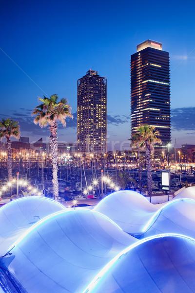 Kikötő éjszaka Barcelona város épületek városi Stock fotó © rognar