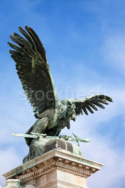 Madár szobor Budapest mitikus bronz kastély Stock fotó © rognar