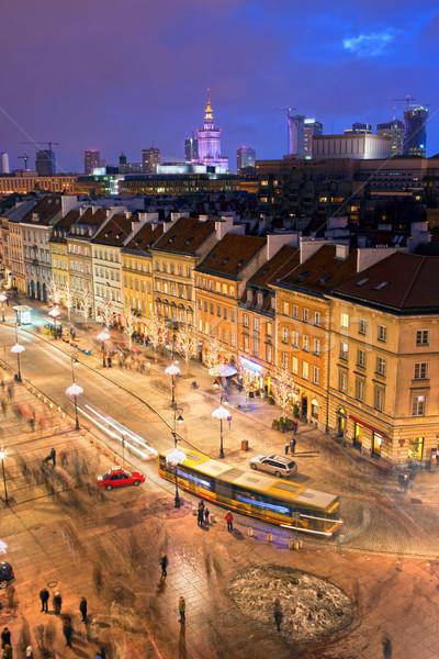 Warschau stad leven straat avond Polen Stockfoto © rognar