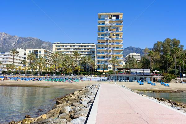 Resort España muelle playa apartamento edificios Foto stock © rognar