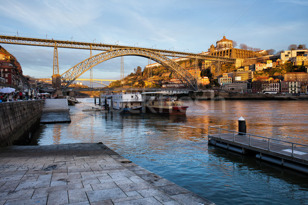 Vila Nova de Gaia and Porto at Sunset Stock photo © rognar