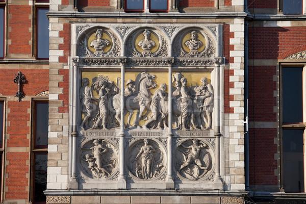 Amsterdam centrale stazione ferroviaria storico facciata Holland Foto d'archivio © rognar