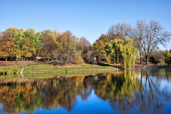 Parco lago Varsavia riflessione acqua autunno Foto d'archivio © rognar
