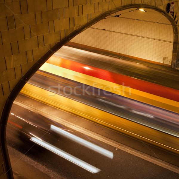 Stockfoto: Tunnel · licht · nacht · stoplicht · straat · Warschau