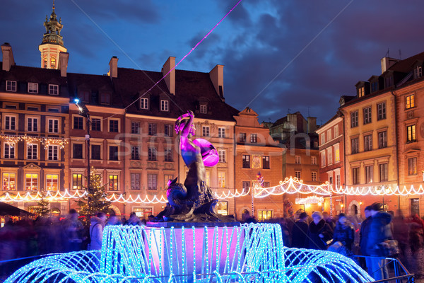 Warsaw Old Town at Christmas in Poland Stock photo © rognar