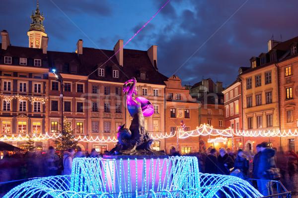 Varsóvia cidade velha natal Polônia praça sereia Foto stock © rognar