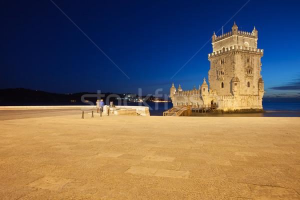 Lisboa noche Portugal torre río mar Foto stock © rognar