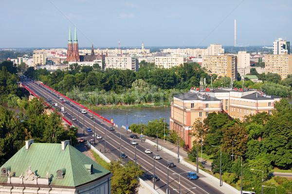 Warschau stadsgezicht Polen brug eerste plan Stockfoto © rognar