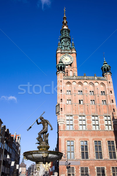 Mairie fontaine gdansk principale ville bronze Photo stock © rognar