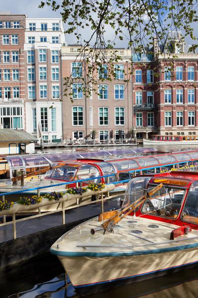 Seyir tekneler Amsterdam kanal nehir Hollanda Stok fotoğraf © rognar