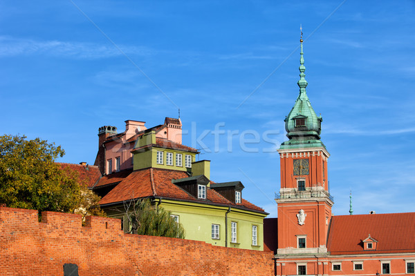 Vieille ville Varsovie Pologne horloge tour royal Photo stock © rognar